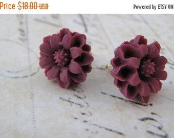 ON SALE Purple Floral Earrings, Plum Flower Earrings, Stud Post Earrings, Sterling Silver Stud Post Earrings, Resin Flower Cabochon Earrings