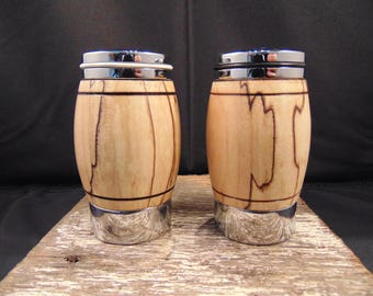 Spalted pecan salt and pepper shakers