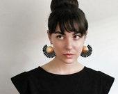 black lace statement earrings | IRINA | boho earrings, artsy, bohemian, brass earrings, large earrings, unique jewelry, lightweight earrings