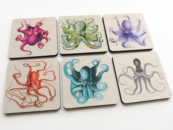 Octopus Drink Coasters sea beach ocean nautical home decor cthulhu tentacles kraken flexible neoprene housewarming hostess gift nerd