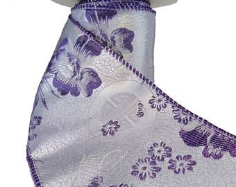 "3 Rolls of  Woven Chinese Chrysanthemum Floral Pattern Purple Wired Ribbon  4"" Wide"