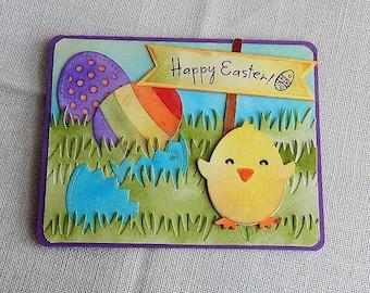 Handmade Easter Card: bunny, eggs, multi color, greeting card, Easter, ink blending, purple, complete card, handmade, balsampondsdesign