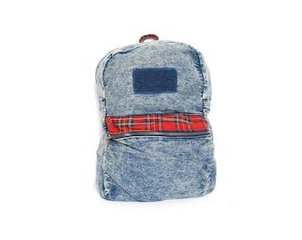 DENIM and plaid acid washed blue jean 80s 90s PUNK GRUNGE backpack