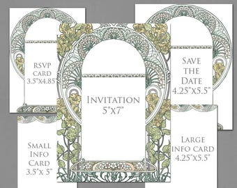 Wedding Invitation Template Graphics for Invite, RSVP, Save the Date, Info Cards - Gatsby Garden Original Colors - Art Nouveau Frame Invite