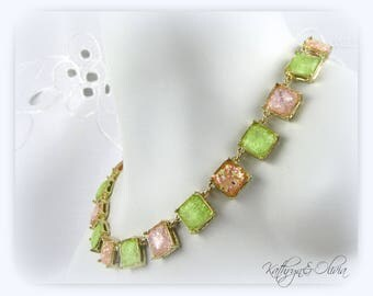 Confetti Pink Peach and Green Cube drop earrings and Necklace set