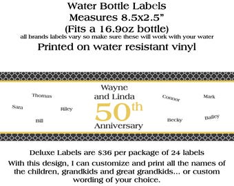 24 DELUXE Personalized Water Bottle Labels - 50th Anniversary - Any Year Anniversary