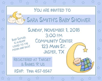 20 Personalized Stars and Moon Baby Shower Invitations -  Twinkle Twinkle Little Star Baby Shower - To The Moon and Back Baby Shower