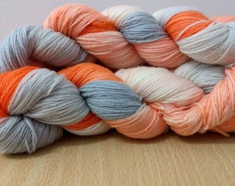 Swish Sock Yarn Super wash Merino/Nylon Sock Yarn Hand Dyed Sock Yarn Orange, Pale Blue and Natural Sock Yarn