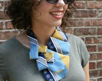 Ascot - Necktie Necklace - Hipster Clothing - Memorial Gift - Necktie Scarf - Women's Tie - Gift For Her - Work Wear - Blue Gold Scarf. 54