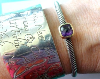 SALE-David Yurman Noblesse Sterling Silver & 18K Yellow Gold Amethyst Cable Cuff