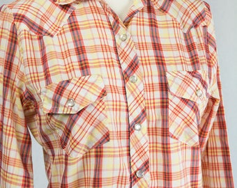 Vintage 1970s Western Shirt Orange Plaid Long Sleeve