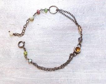 Yellow Citrine Bracelet - November Bracelet - Mixed Stone Bracelet - Oxidized Sterling Silver Bracelet - Dainty Bracelet - Bezel Bracelet