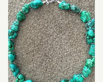JULY SALE EVENT Beaded Turquoise Necklace - Gift Idea - Summer Necklace -Summer Jewelry