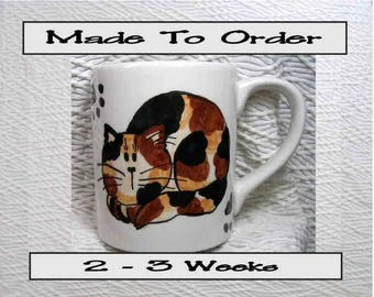 Tortie Cat Mug Made To Order Original Handmade With Paws On Back by GMS