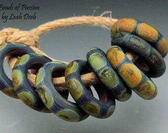 Glass Rings Handmade Beads of Passion SRA - 8 Tribal Rings - Xtra Small
