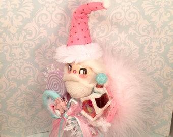 Santa Claus doll Santa tree topper Santa centerpiece vintage retro inspired pink santa candy theme christmas pastel holiday