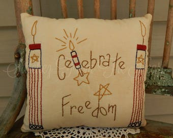 Patriotic - Americana - Freedom - Red White Blue - Fireworks - Throw Pillow