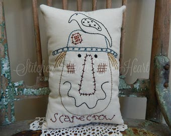 Fall Scarecrow Throw Pillow -  Hand Embroidered Fall Pillow - Fall Home Decor - Black Crow