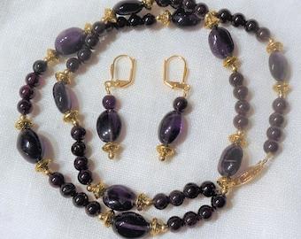 Amethyst & Garnet Gold Necklace Set
