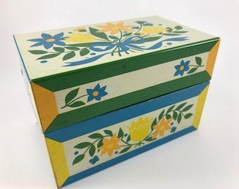 Vintage Metal Recipe Box with Floral Design