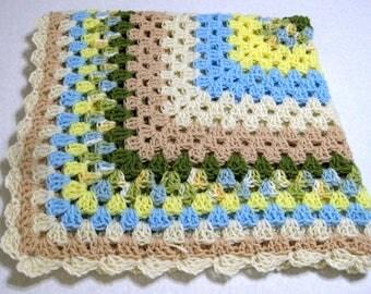 Handmade Crochet Lap Robe Beach Colors
