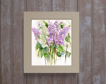 Framed lilac print-  lilac watercolors- framed art- botanical watercolor- floral gift-  violet and white lilacs - purple lilac painting