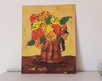 "60's Vintage Yellow Floral Painting Orange Yellow Flower Painting Mid Century Still Life Painting 1960's Bouquet Painting 14"" by 18"" Art"