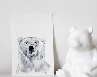 Pukiq the Polar Bear, Polar Bear Art, Polar Bear Painting, Polar Bear Portrait, Nursery Polar Bear, Polar Bear Decor, Polar Bear Wall Art