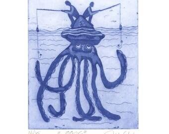etching, fishing, squid, fisherman, fish, blue and white print, humor, art print, printmaking, Mariann Johansen-Ellis, fun print, ocean