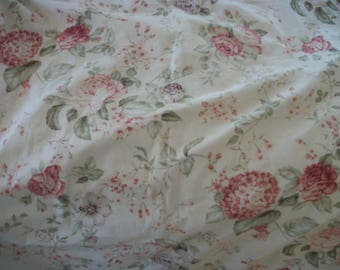 """cream and pink floral chintz fabric curtain panels, lined, pair. roses, hydrangeas, peonies, soft colors, cotton, 84"""" long, 37"""" wide, each"""