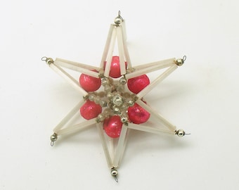 Vintage Czech Glass Bead Star Christmas Ornament Czechoslovakia