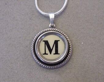 Cream M Typewriter key necklace Jewelry Typewriter key Initial necklace Initial M Steampunk recycled jewelry