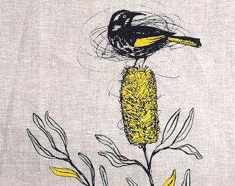 Tea Towel, New Holland Honeyeater and Banksia Screen Printed Tea Towel in Linen, Australian Native Bird