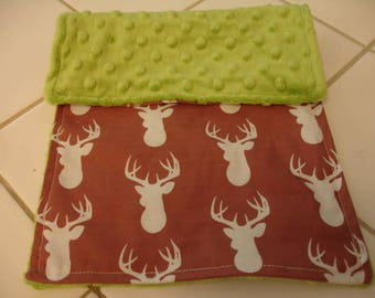 Brown Deer Head with Jade Green Minky Baby Burp Cloth 8 x 14 READY TO SHIP