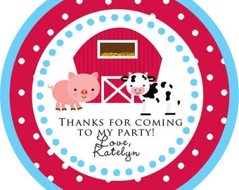 DIY Printable File- Farm Animals Cow Pig Party Thank You  Stickers, Tags, Labels- Avery Label 22807