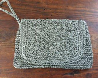 Vintage Straw Purse Crochet Dirty Aqua Envelope Wrist Handbag