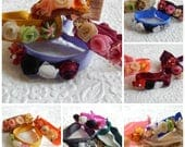 Hair scrunchies with delicate flowers, ponytail holder, decorated twist tie, hair accessories, choose from 6 groups