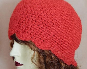 CLEARANCE - Red hat, wool hat, scallop cap, womens accessory, winter wear