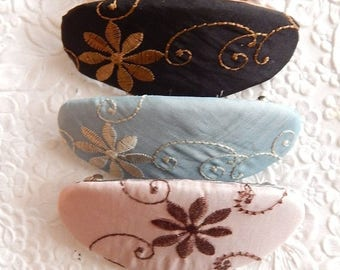 CLEARANCE - Embroidered barrette, oval barrette, ponytail holder, hair accessory, fashion accessory, floral barrette