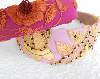 PInk floral embroidered fabric headbands for women, hair accessory