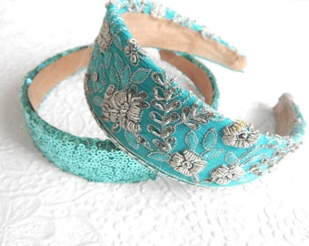 Bright aqua floral embroidered wide fabric headband, headbands for women, hair accessory,