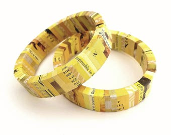 Yellow Sunshine Recycled Magazine Eco Friendly Bangle Bracelet