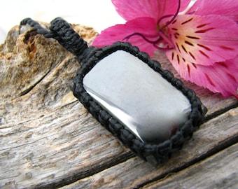 Protection against negativity, Hematite Necklace / Hematite jewelry / Macrame jewelry / Mens necklace, mans pendant, gift for boyfriend