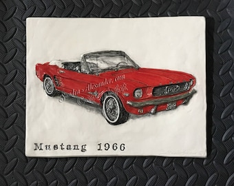 1966 Ford Mustang Convertible CERAMIC tile sculpture 3D Art Tile Plaque Functional ART by Sondra Alexander Made to Order