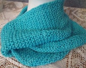 Shimmering Turquoise Silk/Merino  Knitted Infinity Scarf
