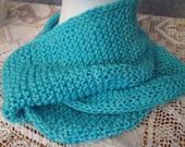 Turquoise chatoyante soie/laine mérinos col tricoté