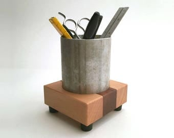 Pencil Cup, Office Organizer, Office Decor Made from Reclaimed Wood
