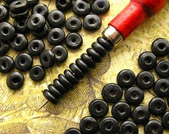 11mm Black Wooden Heishi Beads - Over 100 - Glossy Black Donut Rondelle Disc Beads, Black Disk Beads, Wooden Ring Beads, Lead Free (WBD0153)
