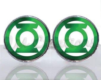Green Lantern Symbol Round Glass Tile Cuff Links - CIR179