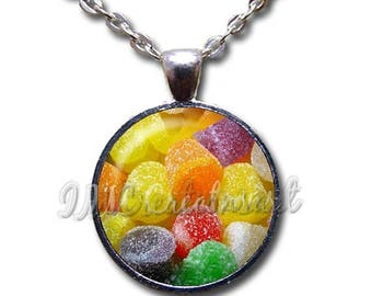 20% OFF - Gum Drops Christmas Candy Sweets Glass Dome Pendant or with Chain Link Necklace  BF137